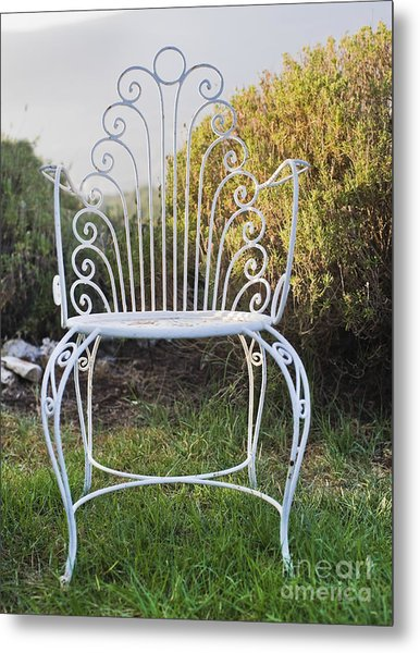 White Metal Garden Chair Metal Print by Noam Armonn