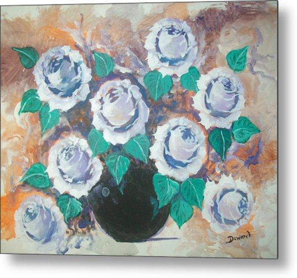 White Roses Metal Print