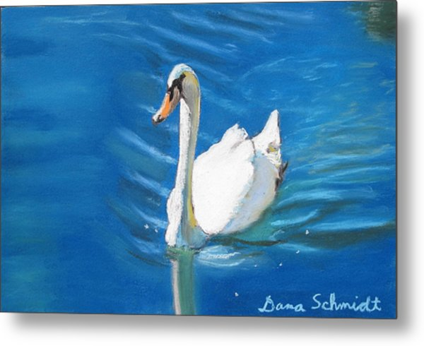 White Swan At Lake Eola Of Orlando Metal Print