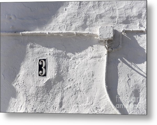 White Wall With Number 3 Plate Metal Print