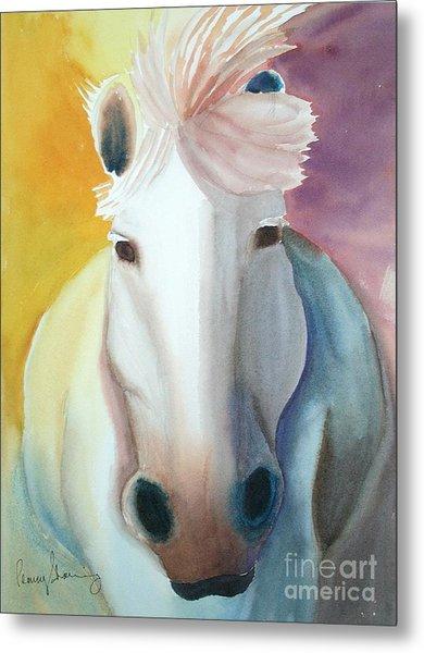 White Work Horse Metal Print