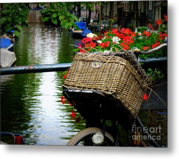 Wicker Bike Basket With Flowers Metal Print