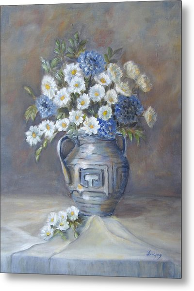 Metal Print featuring the painting Wild Flowers by Katalin Luczay
