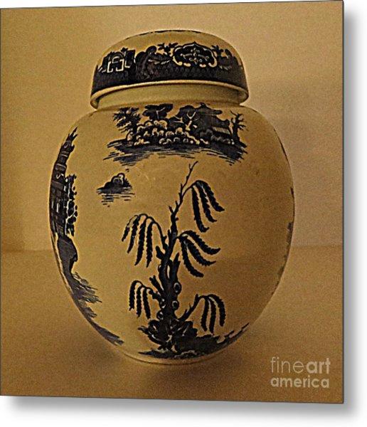 Willow Tea Jar Metal Print by Patricia Januszkiewicz