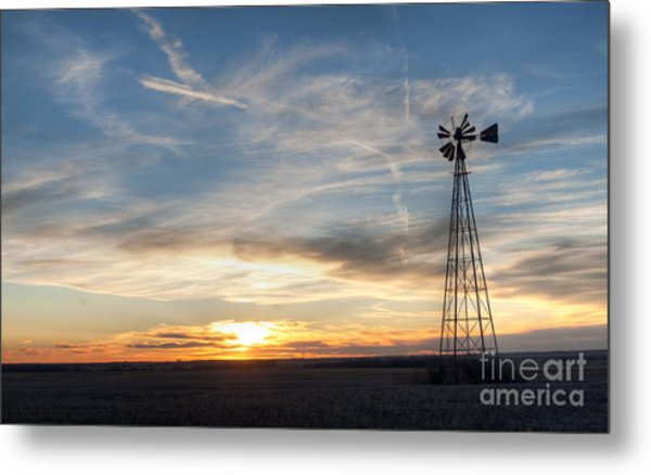 Windmill And Sunset Metal Print