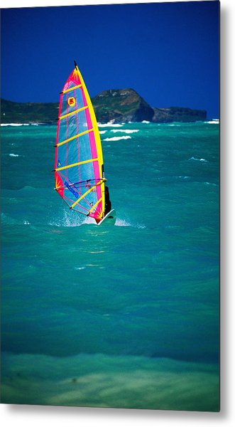 Windsurfer On The Shores Of Kailua Beach, Kailua, United States Of America Metal Print by Ann Cecil