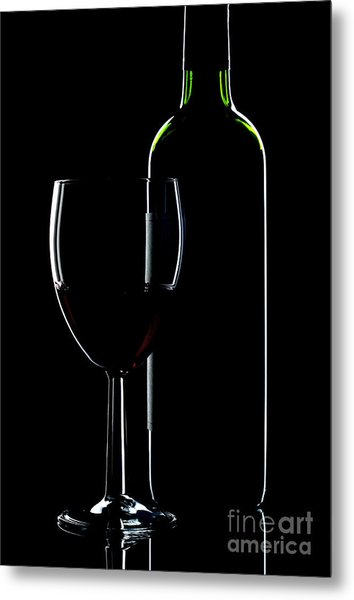 Wine Bottle And Glass Metal Print by Richard Thomas