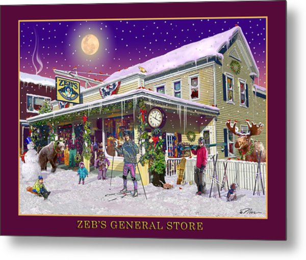 Winter At Zebs General Store In North Conway Nh Metal Print