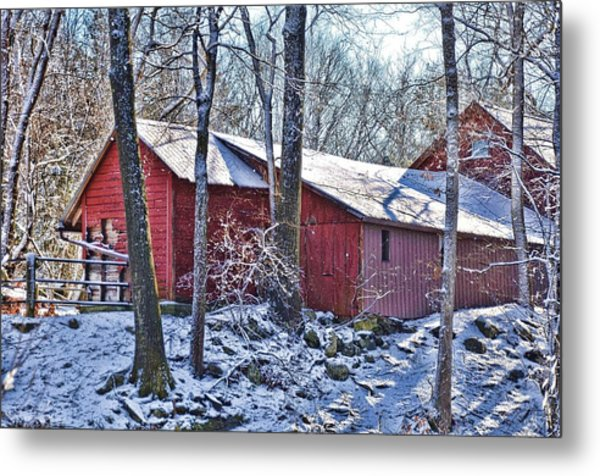 Winter Barn Metal Print by Nancy Rohrig