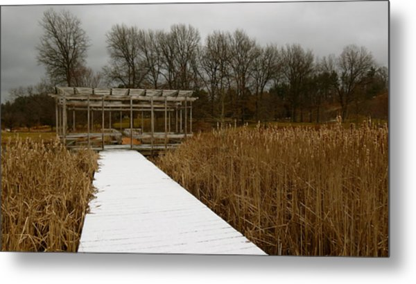 Winter Boardwalk Metal Print