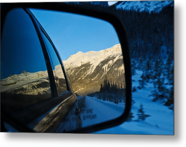 Winter Landscape Seen Through A Car Mirror Metal Print