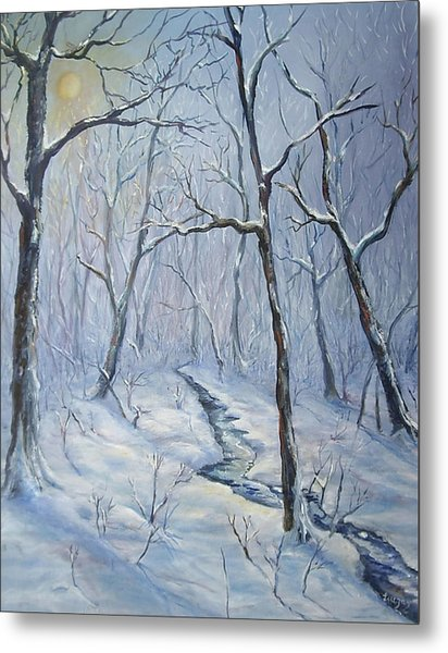 Metal Print featuring the painting Winter Light by Katalin Luczay