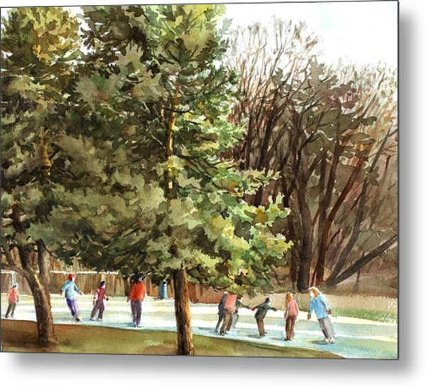 Winter Skating Metal Print by Peter Sit