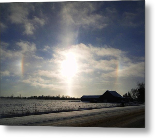 Winter Sun Dogs Metal Print