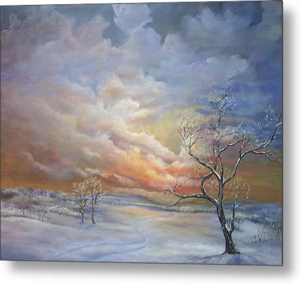 Metal Print featuring the painting Winter Sunset by Katalin Luczay