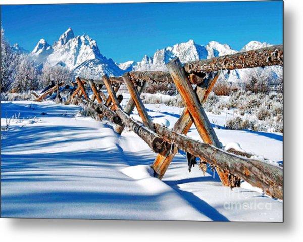 Winter Tetons Fence Metal Print by Richard Brady