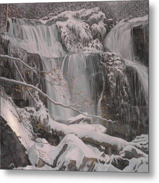 Winter Waterfalls Metal Print by Giacomo Alessandro Morotti