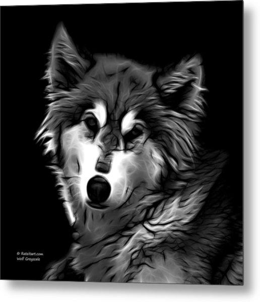 Wolf - Greyscale Metal Print