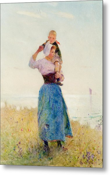Woman And Child In A Meadow Metal Print