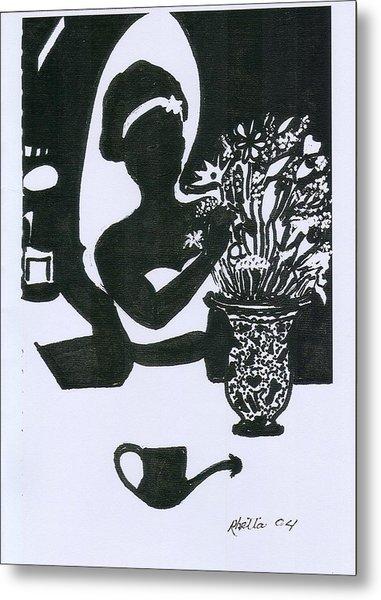 Woman Arranging Flowers 1 Metal Print by Rhetta Hughes