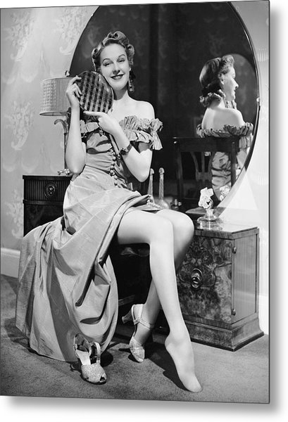Woman At Dressing Table Holding Mirror Metal Print by George Marks