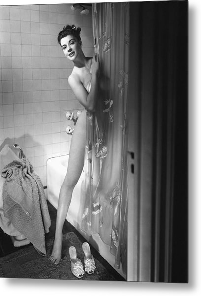 Woman Behind Shower Curtain Metal Print by George Marks