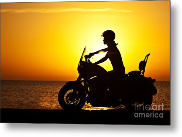 Woman Biker Over Sunset Photograph By Anna Om