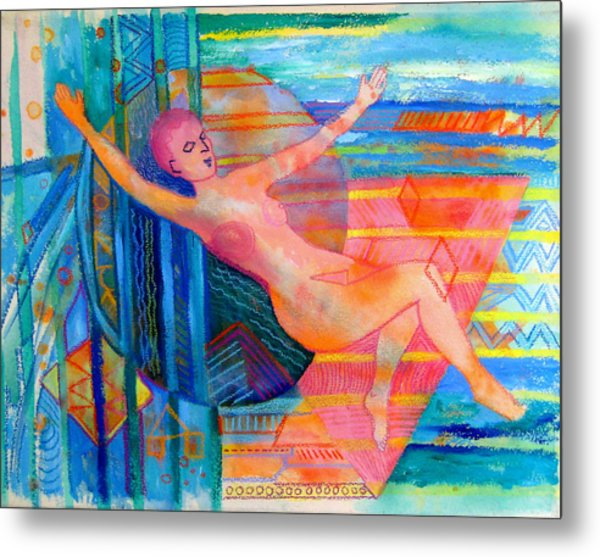 Woman Floating In Space Metal Print