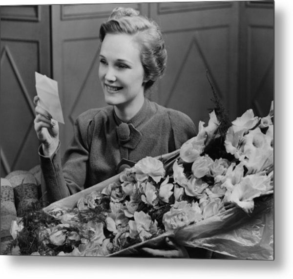 Woman Holding Flower Arrangement, Reading Card, (b&w) Metal Print by George Marks