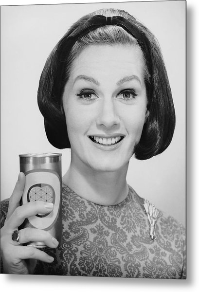 Woman Holding Up Can Of Beer Metal Print by George Marks