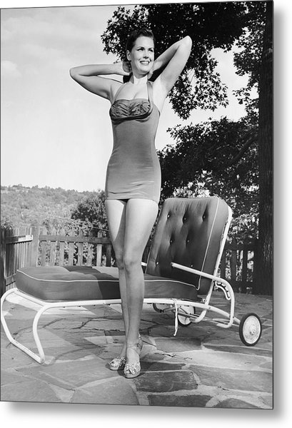 Woman In Bathing Suit Outdoors Metal Print by George Marks