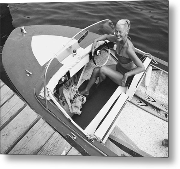 Woman In Speed Boat Metal Print by George Marks