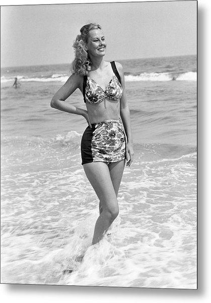 Woman In Surf Metal Print by George Marks