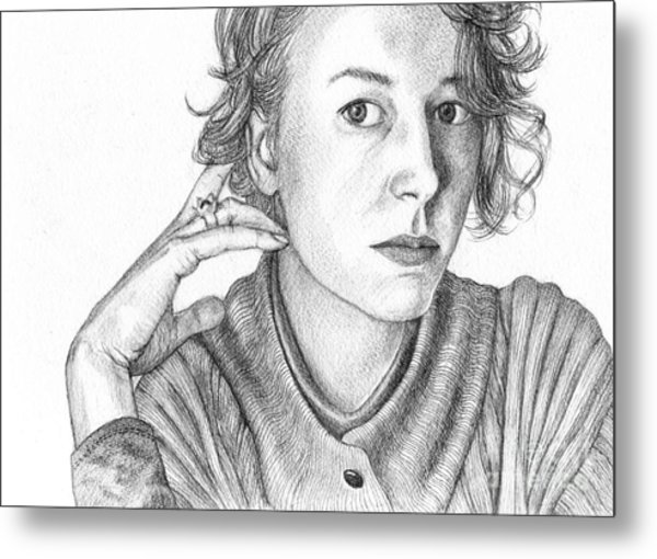 Woman In Sweater Metal Print