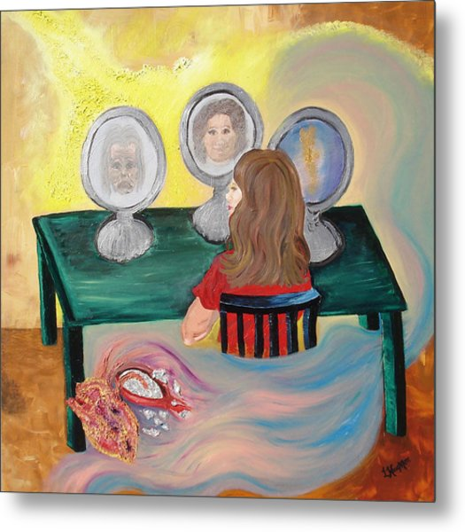 Woman In The Mirror Metal Print by Lisa Kramer