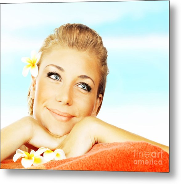 Woman On Spa Massage Bed On The Beach Metal Print by Anna Om