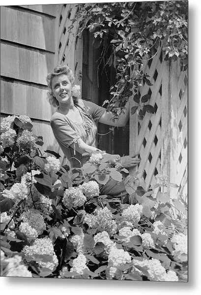 Woman Outside Of Home, Near Hydrangea Bush Metal Print by George Marks