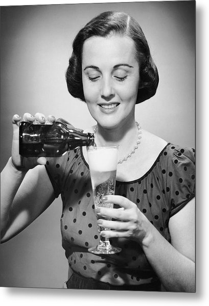 Woman Pouring Alcoholic Beverage Metal Print by George Marks