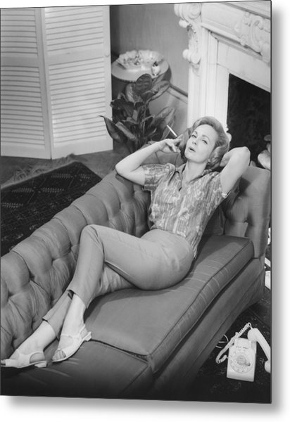 Woman Relaxing On Sofa, (b&w), Elevated View Metal Print by George Marks