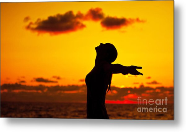 Woman Silhouette Over Sunset Metal Print by Anna Om