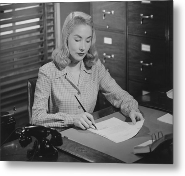 Woman Sitting At Desk, Writing Letter, (b&w) Metal Print by George Marks