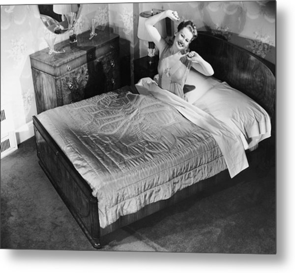 Woman Sitting In Bed Stretching Metal Print by George Marks
