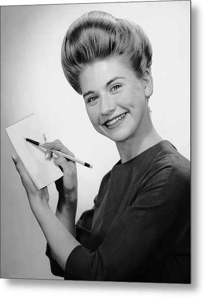 Woman Smiling W/pen & Pad Metal Print by George Marks