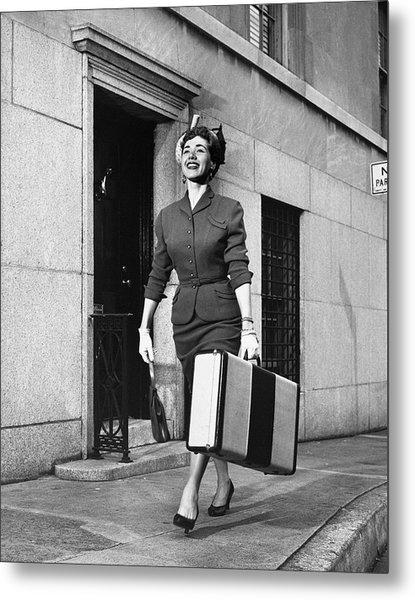 Woman Traveling Metal Print by George Marks