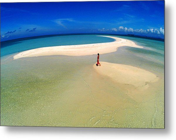 Woman Walking Along Sand Bar At A Tropical Beach In Malaysian Borneo's Sipadan-kapali-mabul Region Metal Print by Tim Rock