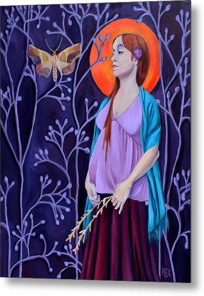 Woman With Child And Wildflowers Metal Print by Renee Thompson