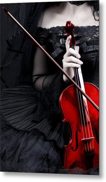 Woman With Red Violin Metal Print