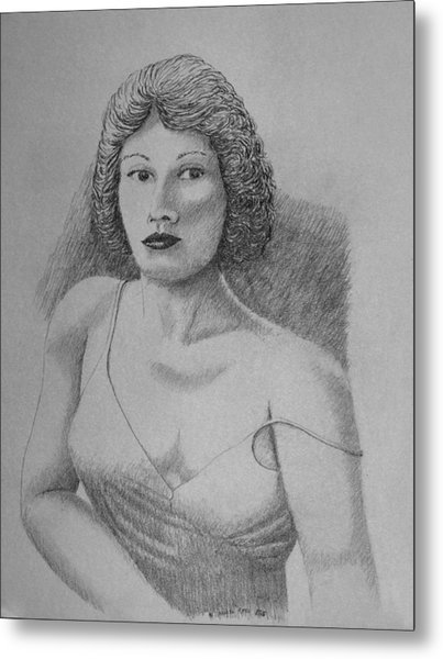 Woman With Strap Off Shoulder Metal Print