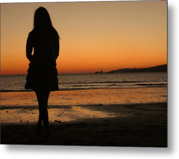 Woman's Shade In The Beach Metal Print by Jenny Senra Pampin