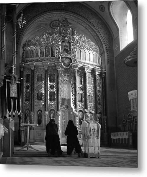 Women Praying In Church Metal Print